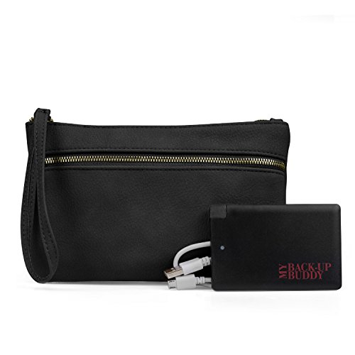 Portable Wallet (Mundi Back Up Buddy Womens Wallet Wristlet RFID Blocking With Portable External Phone Charger (Black))