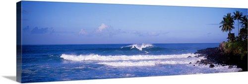 GreatBIGCanvas ''Hawaii, Waimea Bay, breaking waves'' Photographic Print with Black Frame, 48'' x 16'' by greatBIGcanvas