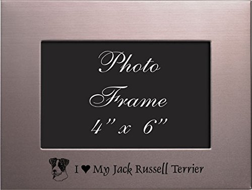 Frame Jack Russell - 4x6 Brushed Metal Picture Frame-I love my Jack Russell Terrier-Silver