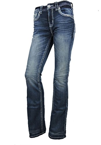 Crystal Pocket Stretch Jeans (Grace L.A. Idol Women Bootcut Jeans Blue Aztec Back Pocket Stretch Dark Blue)