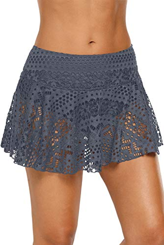 XmasPJS Womens Skirted Swimsuit Bottom Solid Swimwear Skirt Bathing Suit Brief (Grey Lace Skirt, Large)