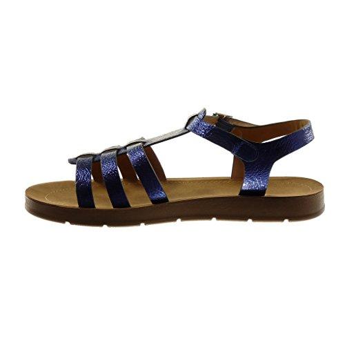 Angkorly Damen Schuhe Sandalen - Knöchelriemen - Römersandalen - T-Spange - genarbtem - Multi-Zaum Flache Ferse 2 cm Blau