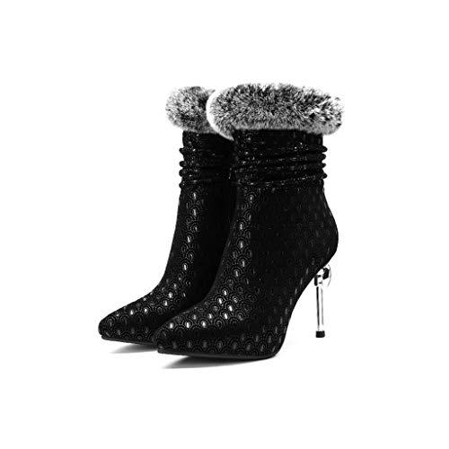 Aiguille Sexy Modèles 2018 D'hiver Cuir 36 Mode Stand Et En Talon De Noir D'automne Taille Européen Nouveaux Chaussures Noir Bottes couleur 1I7Zq4