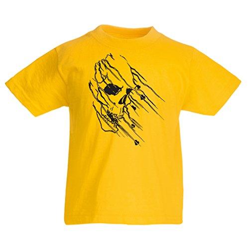 lepni.me Camisas para ninos Art Skull - Vintage t Shirts (5-6 Years Amarillo Multicolor)