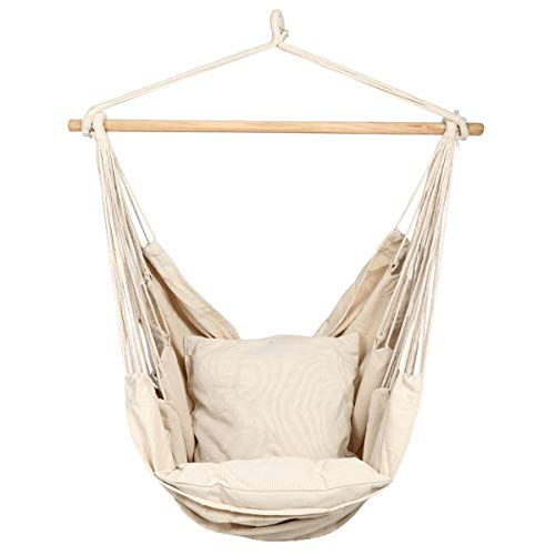 Caromy Hammock Chair Hanging Rope Swing Seat with Pillow and Carrying Bag Chair for Yard, Bedroom, Patio, Garden, Indoor, Outdoor (White)