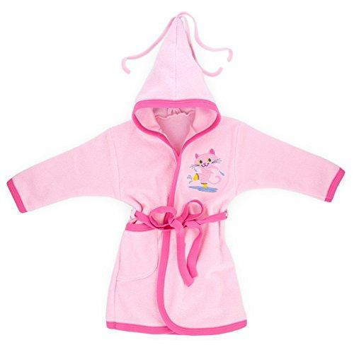 Baby-Mode Kinder Unisex Frottee Bademantel mit Kapuze (86 - 128) (122, Rosa)