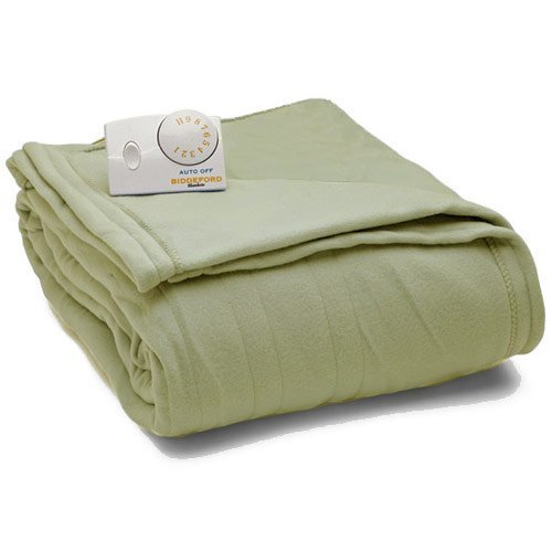 Biddeford Knit Fleece Electric Heated Warming Blankets Full/Sage