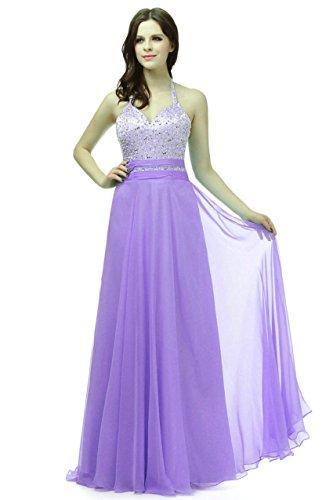 Prom Chiffon Silk Dress (Zorayi Women's Long Halter Silk Chiffon Beading Prom Bridesmaid Dress Lavender Size 30)