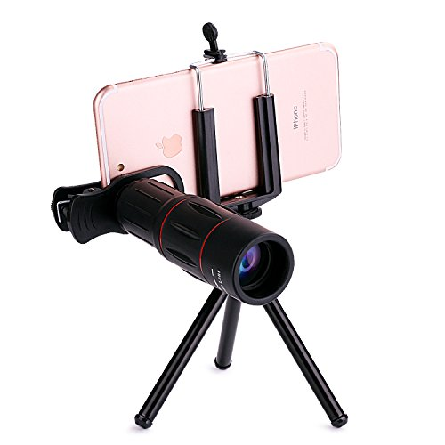 MOCALACA 18X iPhone Telephoto Lens, Cell Phone Camera Lens with Mini Flexible Tripod + Phone Cases + Universal Clip for iPhone X/8/8 Plus/7/7 Plus/6s/6s Plus/6/6 Plus /Ipad,Samsung Galaxy