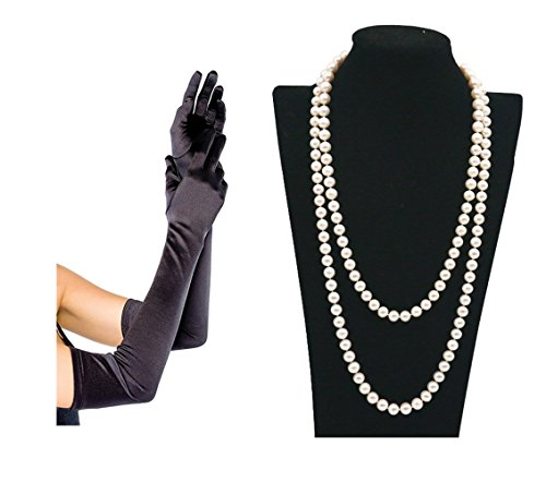 "1920s Great Gatsby Accessories 55"" Faux Pearls Flapper Beads Cluster Long Pearl Necklace 22"