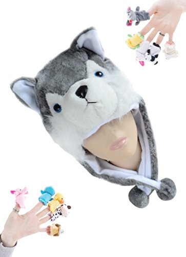 100 Cotton Finger Puppets (Pulama Funny Anime Winter Hats for Boys/Girls, with 10pcs Animals Finger Puppets Toy (Husky))