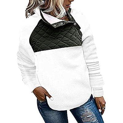 Actloe Women Button Neck Fleece Pullover Sweatshirt Casual Outwear Coat with Pockets: Clothing