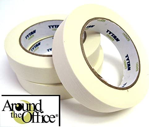 Masking Crepe Paper Masking Tape 12mm x 60 Yards Case of 72 Rolls Natural Color,5.5 Mil Chus Packaging Supplies TI740MH60,Super Mask