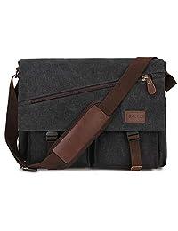 Messenger Bag for Men,Water Resistant Unisex Canvas Shoulder Bag Fits 14 Inch Laptop School Satchel Book Bag for Work and College