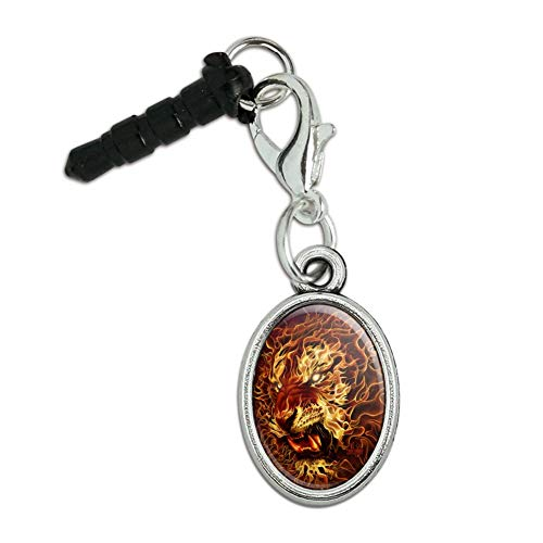(GRAPHICS & MORE Flaming Fire Tiger Mobile Cell Phone Headphone Jack Anti-Dust Oval Charm fits iPhone iPod Galaxy)