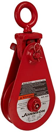 """Gunnebo-Johnson SB 8S 6B T Single Sheave Snatch Block with Tailboard, 17636 lbs Load Capacity, 6"""" Sheave, 5/8"""" - 3/4"""" Wire Rope"""