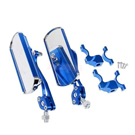 Adjustable Bicycle Rear View Mirror Rectangle Bike Rearview for 22.2mm Blue
