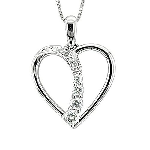 - 14k White Gold Journey Heart Diamond Pendant Necklace (1/5 Carat)