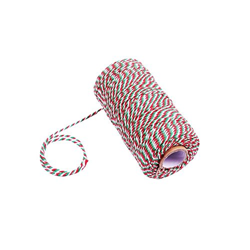Cotton Twine String,Valentine Gift Wrapping Twine,Cotton Bakers Twine Arts Crafts Twine,328 Feet Red Green and White String Durable Packing Holiday Twine]()