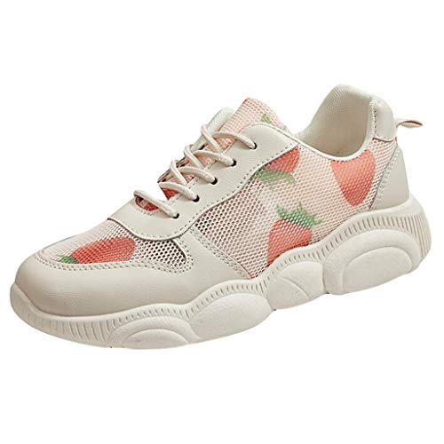 (Women's Strawberry Printed Breathable Sneakers Lace-up Elasticity Sports Shoes)