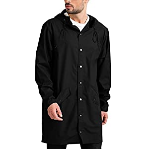 COOFANDY Men's Lightweight Waterproof Rain Jacket Packable Outdoor Hooded Long Raincoat