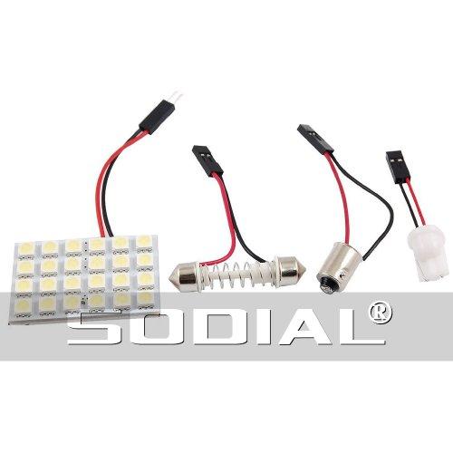 Placa de techo para coche de 24 LED Sodial con triple adaptador