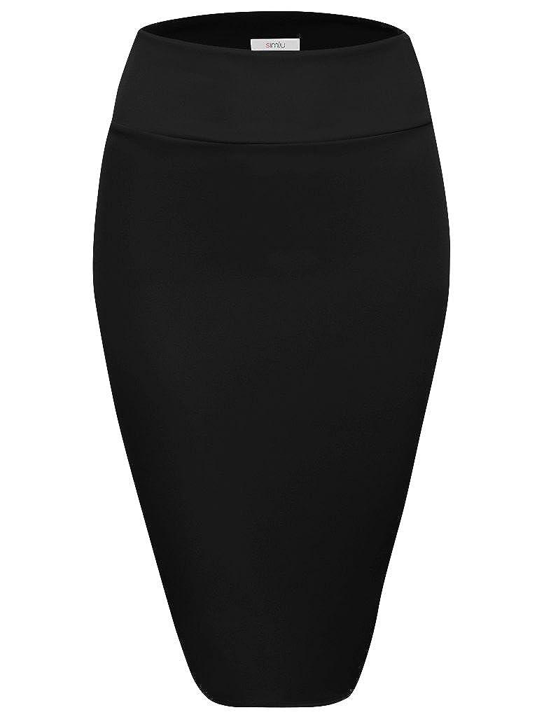 Black Scuba Pencil Skirt Midi Bodycon Skirt Below Knee Skirt, Office Skirt High Waist