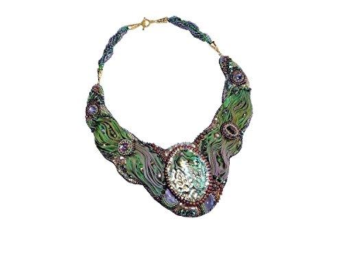 Necklace with Shibori Silk, Abalone Shell, Cultured Freshwater Pearls, Swarovski Elements, Amethyst. Free shipping Canada & USA. ()