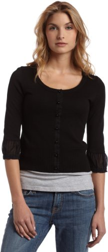 Mac & Jac Women's Cropped Cardigan With Woven Sleeve Detail,Black,X-Large