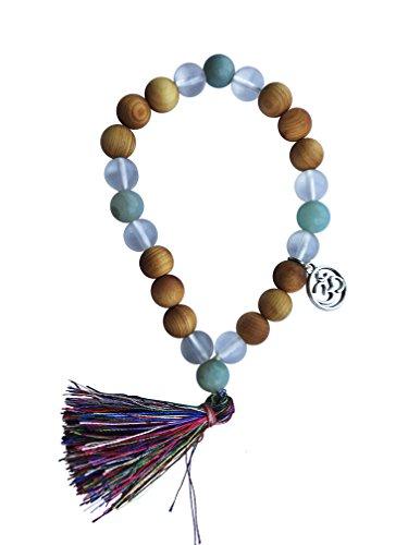 Tassel Mala Bracelet by Kuratif - Amazonite, Quartz and Sandalwood- Clarity, Love (Square Covered Buckle)