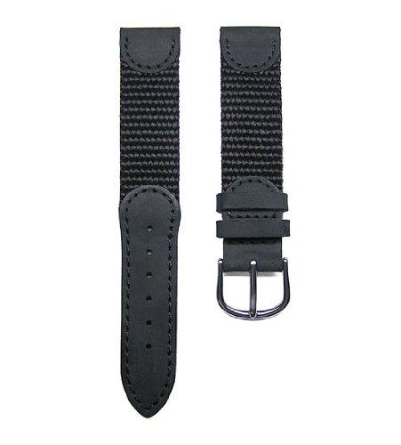 17mm TIMEWHEEL® Black Leather & Nylon Watch Band Fits Victorinox Swiss Army Original Series Small 24240, 24241 & (Small Swiss Army Watch)