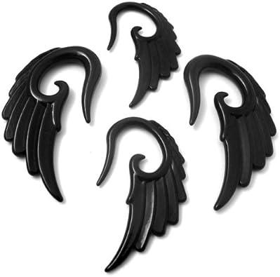 .price per pair sono wood hand made body Jewelry 6mm-2G angel wings ear gauge tribal jewelry