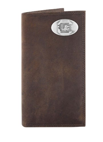 (NCAA South Carolina Fighting Gamecocks Light Brown Crazyhorse Leather Roper Concho Wallet, One Size)