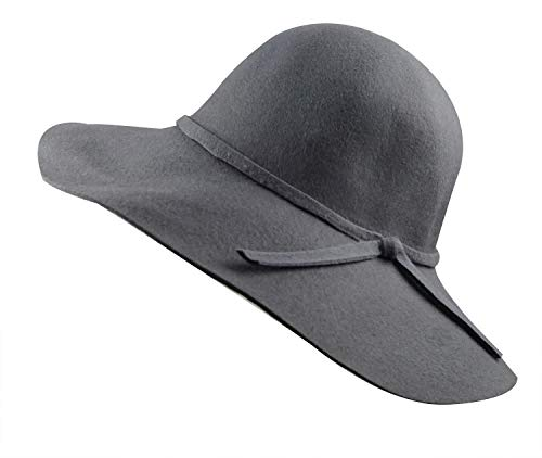 - Lovful Women 100% Wool Wide Brim Cloche Fedora Floppy hat Cap,Grey