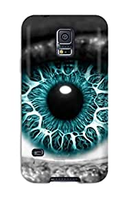 Galaxy S5 Hard Back With Bumper Silicone Gel Tpu Case Cover Eye Cgi Abstract Cgi
