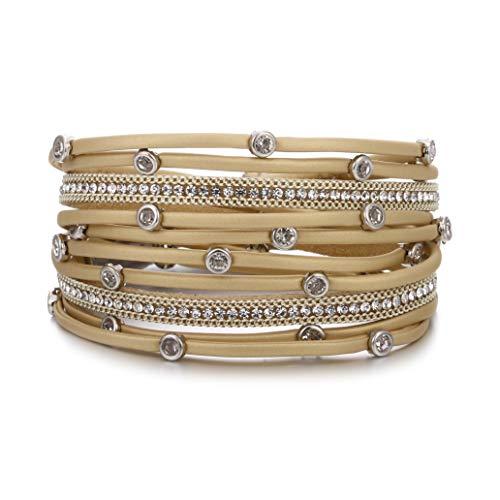 (Leather Wrap Bracelet for Women - Charm Boho Multilayer Gorgeous Bracelets wristbands - Casual braided Handmade magnetic bracelet Cuff Bangle Gift for Monther (Beige rhinestone leather bracelet))