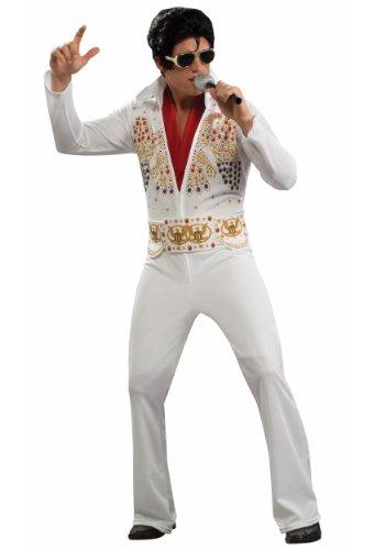 Aloha Elvis Adult Costume,White,X-Large (Elvis White Jumpsuit)