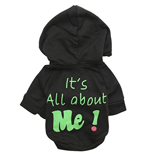 Cute Dog Clothing (Howstar Pet Clothes, Warm Hoodie Coat Cute Dog Clothing It's All About Me Printed Shirt Doggie Costume (XS, Black))