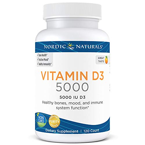 Nordic Naturals Vitamin D3 5000 - Potent Dose of Vitamin D3 for Bone Health, Mood and Sleep Rhythm Support, and Immune System Function*, Orange, 120 Soft Gels
