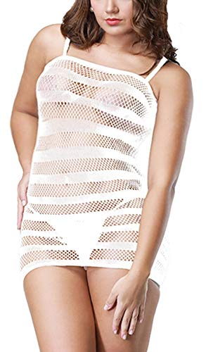 (HASFINE Women Fishnet Lingerie Mini Dress Mesh Chemise Bodystocking Sleepwear)