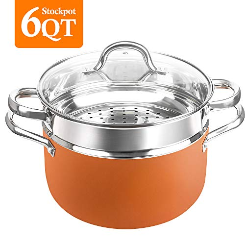 SHINEURI 6 qt. Stockpot with Lid, 1 Steamer Inset, Nonstick Copper Wok Pan With Stainless Steel Handle & Glass Lid, Dishwasher Safe, PFOA/PTFE Free (6qt. stockpot with lid+steamer insert)