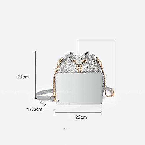 Chaîne de sacs en tissu sac à bandoulière épaule Messenger Bag sacs à main de petits sacs chaîne tissée sac à grande capacité Bucket