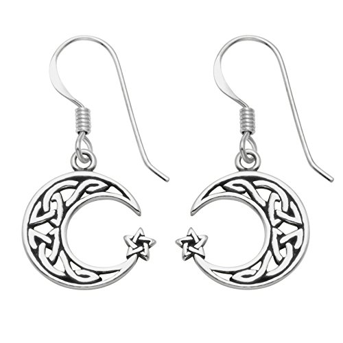 (Sterling Silver Celtic Crescent Moon & Star Wire Earrings)