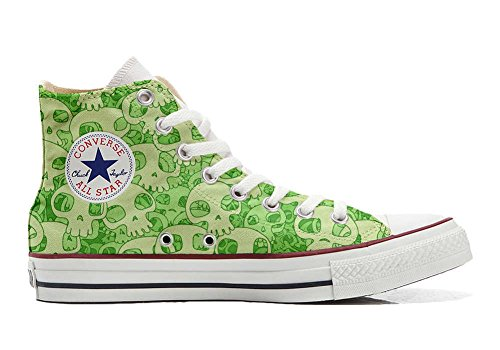 Converse All Star personalisierte Schuhe - HANDMADE SHOES - Green Skull