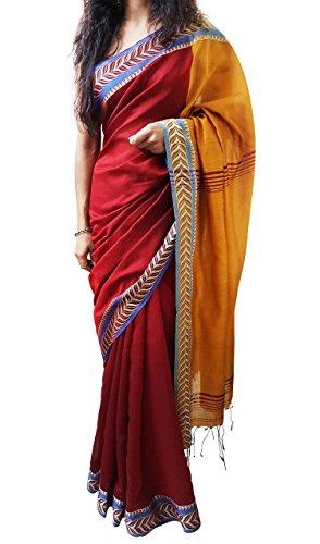 Mehrunnisa Handloom BAHA SAREES With Blouse Piece From Kolkata (Maroon & Mustard)