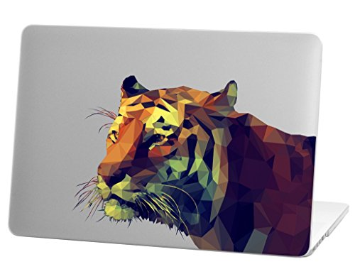 Tiger Macbook Laptops - Macbook Pro 13 inch Rubberized Hard Case for model A1706 & A1708 with/without Touch Bar, Tiger Design with Clear Bottom Case