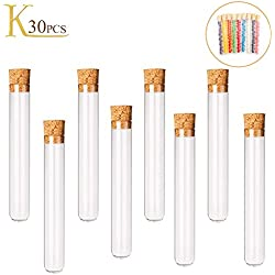 Plastic Test Tubes KINDPMA 30Pcs 5ml Small Clear Test Tubes with Cork Stoppers Containers for Scientist Nerds Party Mini M&Ms Containers Candy Spices Storage 12×75mm