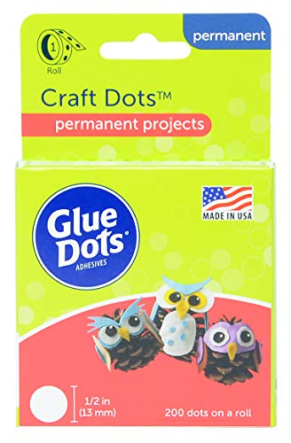 Glue Dots Craft Roll, Contains 200 ( .5 Inch) Adhesive Craft Dots (08165) -