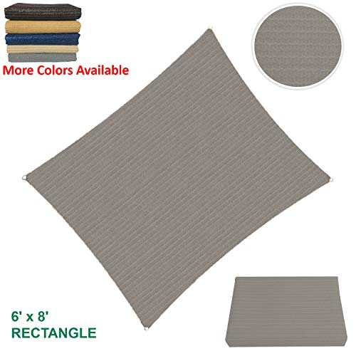 Sun Shade Sail Rectangular Outdoor with Durable Thick Air-Permeable UV Block Canopy Fabric Material for Garden, Patio, Swimming Pool, Backyard, Driveway, Fence, Deck, Carport (6' X 8', Grey) (A Permeable Patio Install)