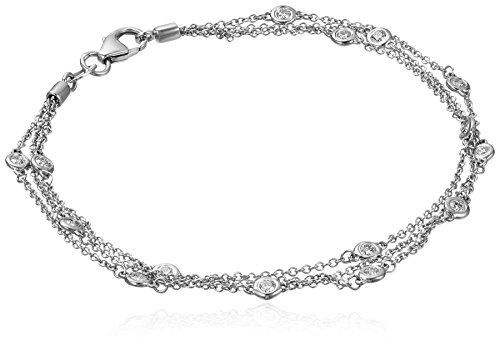Multi Strand Diamond (14k White Gold Floating Diamond Strand Bracelet (1/2 cttw, K-L Color, I1-I2 Clarity), 7